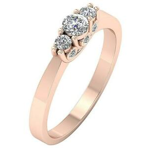 3 Three Stonae Wedding Ring I1 G 0.65 Ct Natural Diamond 14K Rose Gold 4.50 mm