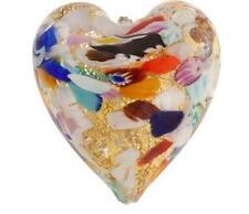 VBS9 Murano Venetian Heart Bead 24kt Gold Foil Klimt 40mm  PK1 **UK EBAY SHOP**