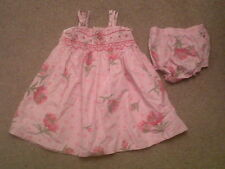 Baby Girls Pink Summer Smock Dress +matching Knickers Age 9-12 Months FLORAL