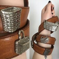 Vintage Navasota Leather Belt with Metal Basket Accents Medium