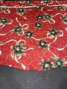 Beautiful Damask Christmas Holiday Tablecloth Oblong 60 X 70 Holly Ribbons