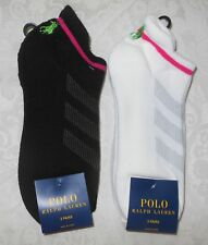 6 Pr Womens Polo Pony Ralph Lauren Athletic Sport Low Cut Rise Tab Socks NWT