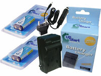 2x Battery +Charger +Car Plug +EU Adapter for OLYMPUS E-10, SP-350