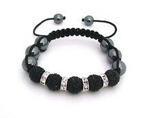 Shamballa friendship bracelet genuine Hematite beads & Jet Black Crystals