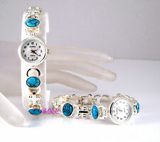 Genuine Turquoise Semi-Precious Stone Gems Silver Pltd Deco MOP Feature Watch BN