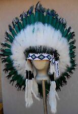 "Genuine Native American Navajo Indian Headdress 36 inch ""PEACOCK EYE"" Sea Green"