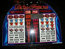 Las Vegas VINTAGE LARGE SLOT MACHINE TOPPER GLASS~BALLY RICH AND FAMOUS (1998)