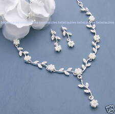 Pearl Necklace Set Bridal Wedding Bridesmaid Gift Prom Crystal Silver Sp New #36