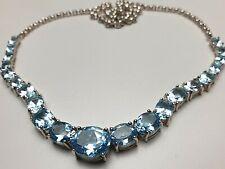 925 Silber Collier natürliche Blautopas Steine besetzt Chateau DÀrgent - A 217