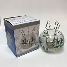 New Traditions Holiday Winter Woodlands Crackled Glass Tealight Candle Holder