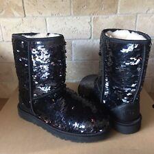 UGG Classic Short Black Sparkles Sequin Sheepskin Boots Size US 9 Womens