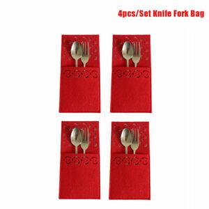 4pcs Red Christmas Tableware Bags Cutlery Bags Decor Tableware Holder B.bl
