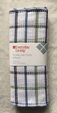 """8 WAFFLE Weave Cotton Dish Cloths Green Blue Gray Kitchen Towel Rags 12"""" x 12"""""""