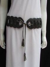 Women Belt Fashion Waist Hip Gray Elastic Braided Long Fringes  XS  S  M