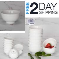 Porcelain Kitchen Bowl Set Cereal Soup Ice Cream Bowls 12 Ounce White 10 Pcs