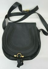 Chloe Marcie Medium Leather Crossbody Shoulder Bag Black