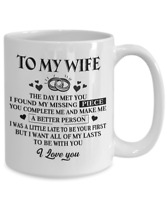 To My Wife Coffee Mug Gift Cup From Husband I Love You My Missing Piece To Lasts
