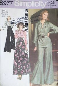 Vtg 1970s Simplicity 5977 Wide Leg Bell Palazzo Pants Top SEWING PATTERN 14