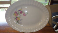 "Edwin Knowles 12"" Oval Serving Platter Picket Fence Floral Design #487"
