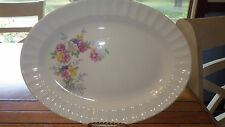 """Edwin Knowles 12"""" Oval Serving Platter Picket Fence Floral Design #487"""