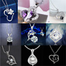 925 Silver Heart Cute Pendant Women Flower Charm Chain Necklace Novelty Gift HOT