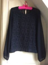 NEXT SIZE14-BLACK CHIFFON TOP WITH PATTERNED FRONT-LONG SLEEVES-VGC