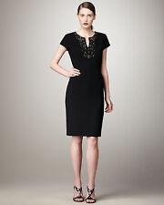 Lafayette 148 New York Virgin Wool Black Beaded Rhinestone Cap Sleeve Dress