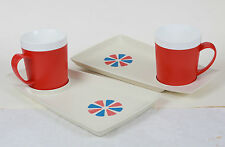 ROMA WARE BY DAVID DOUGLAS CO  SNACK 4 SET TRAY & MUGS RARE RED BLUE IVORY