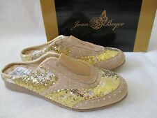 JOAN BOYCE GOLD & SILVER SEQUIN SLIDES SHOES SIZE 6 M - NEW W BOX