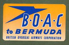 B.O.A.C. Airline luggage label Baggage Label BERMUDA #420