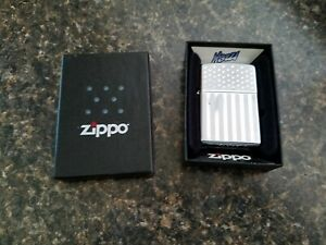 Zippo Cigarette Lighter,Chrome Flag Design, In a Box But not the Right One,2003