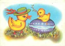 Romania Easter fantasy greetings postcard duck hat baby duck egg