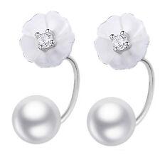 Bridal Delicate Silver White Shell Daisy Flower dropping pearl women earrings