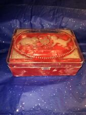New listing Vintage Red And White Swirl Cat Design Jewelry Storage Box