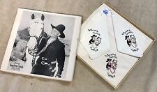 Rare Hopalong Cassidy Embroidered Handkerchief Set - In Original Box And Pins