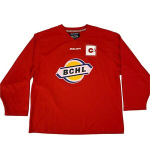 British Columbia Hockey League BCHL Jersey Men's Size 2XL Red Bauer Long Sleeve