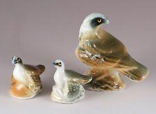 Vintage Miniature Bone China Nesting Eagle Bird Family Figurines Gloss Finish