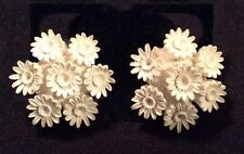 Celluloid White Earrings Vintage Intricate Flowers Clip Ons
