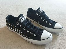 CONVERSE ALL STAR BLACK EMBELLISHED GOLD SILVER STUDDED LACE UP CLASSIC PUMPS 6