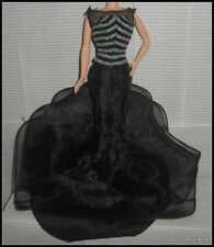 DRESS SILKSTONE BARBIE 40TH ANNIVERSARY DOLL BLACK SILVER  EVENING DRESS GOWN