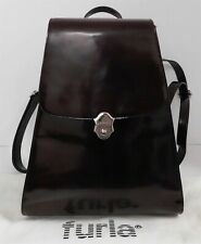 Furla Italy Brown High Gloss Leather Trapezoid Backpack Bag Rare