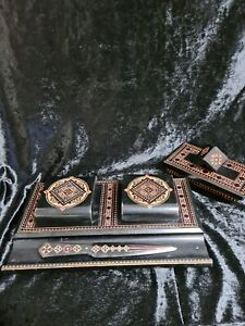 INTRICATELY CARVED EBONISED INK WELL SET , WITH BLOTTER AND ENVELOPE KNIFE