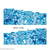 Nail Art Water Decals Stickers Wraps Blue Water Bubbles Gel Polish (S276)