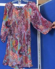 EUC Pretty LOLA P. Mini DRESS or LONG Tunic TOP Semi-Sheer MULTI-Color S