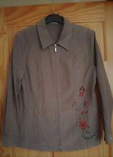 Larissa ladies khaki green fine cord zip-up embellished beaded anorak jacket 38