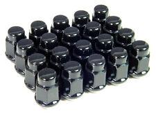 1/2 x 20 Black Lug Nuts 19mm Hex Head Bulge Acorn Conical Seat Set of 20
