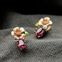 Boucles d'Oreilles Email Fleur Rose Feuille Vert Prix CHOC SOLDE AVRIL MAI L 1