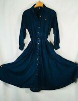 Vtg Maxi Denim Jean Dress Medium Long Sleeve Button Front Modest Boho Prairie