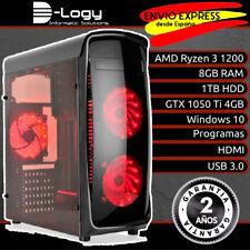 D-Logy Juegos Gamer Gaming PC AMD Ryzen 3 1200 8GB GTX 1050 Ti 4GB 1TB Win10