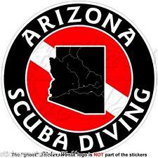 "ARIZONA SCUBA DIVING Flag-Map Shape USA 100mm (4"") Circular Vinyl Sticker Decal"